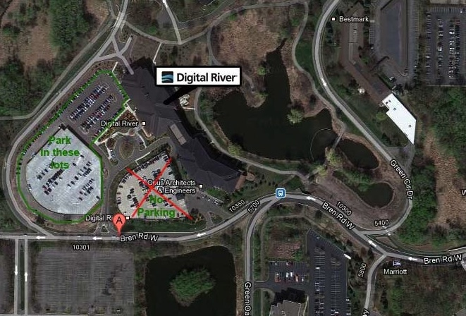 Map of Digital River Parking Lot and immediate area